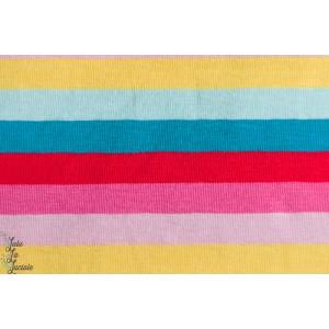jersey bio imprimé rayé multicolore Lou tel un arc en ciel.