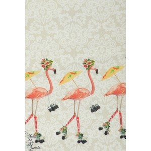 jersey Digital double bordure flamand rose fond sable couture mode femme fille été printemps