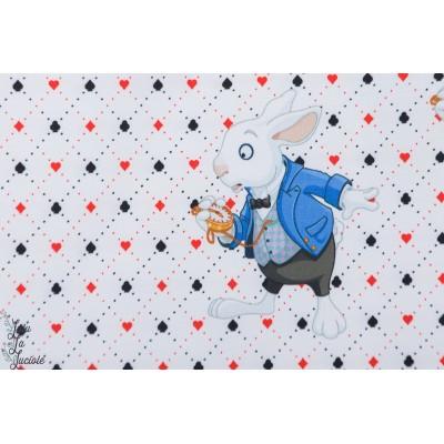 panneau Jersey Digital Stenzo le lapin blanc d'Alice aux pays des merveilles wonderland