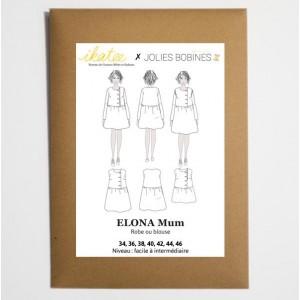 Patron Ikatee ELONA Mum duo Blouse robe jolie bobine jersey double gaze femme