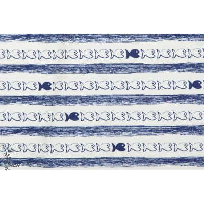 jersey Stripy fish Hilco coton rayure poisson marin bleu