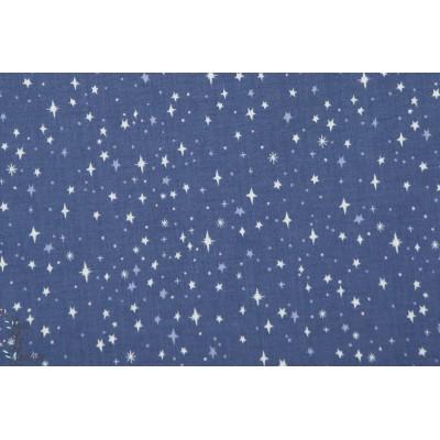 Popeline Star Blue Neverland étoile ciel bleu riley blake