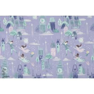 Popeline Neverland Lavende peter pan bleu violet riley blake