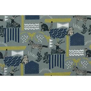 Lin Echino Habitat en gris  toile coton lin japon animaux gris zebre