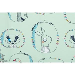 jersey Playfl Animals en Menthe animaux renard cadre couture enfant