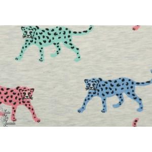 Jersey léopards colorés fond écru