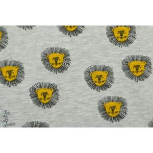 Tissu Jogging Lion fond gris