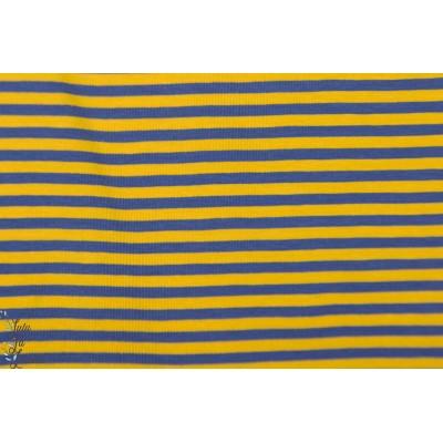 Jersey raye Sonnengel / dunkel blau lillestoff bio bleu jaune