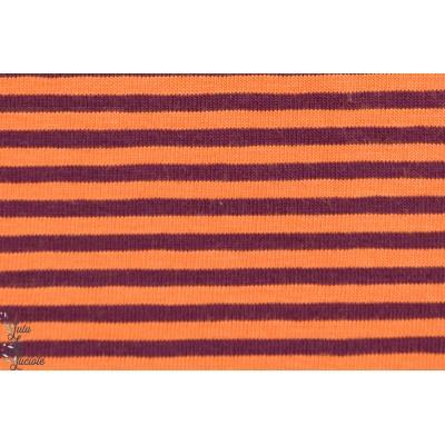 Jersey  bio rayé Orange Aubergine