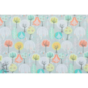 Popeline Step into Spring - arbres printemps nature paysage plaid patch mavada