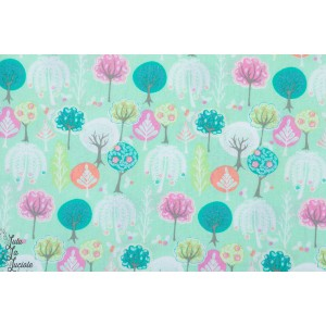 Popeline Step into Spring - arbres  nature graphique printemps paysage bleu vert patch mavada plaid