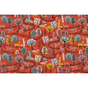 Popeline Woodland Wonderland foret paysafe rouge patch plaid mavada