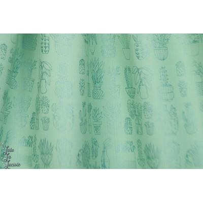 Popeline Menthe cactus metallise Rico design  vert