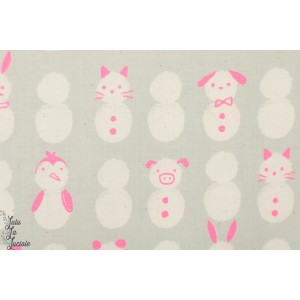 Popeline Cotton Steel Snow Baby néon rose fluo