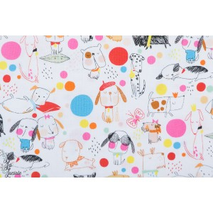 Popeline Puppy Polka Dot blanc - Chiens - Alexander Henry