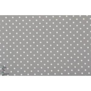 Popeline AGF - Petits Dots Ash  pois gris blanc