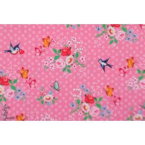 Popeline Animal band rose oiseaux fiona hewitt rétro vintage