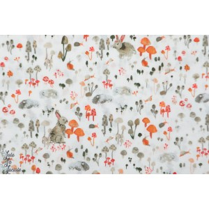 Forêt enchantée : Prairie en blanc windham fabric nature animaux bois enchanted forest