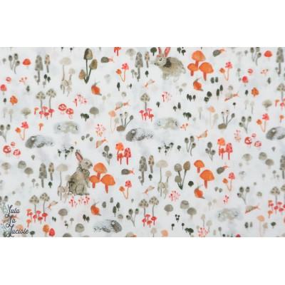 Forêt enchantée : Prairie en blanc windham fabric nature animaux bois enchanted forest