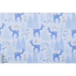 Flanelle de coton bio Fiel Day Roam Cloud9 Bleu biche foret graphique enfant pyjama