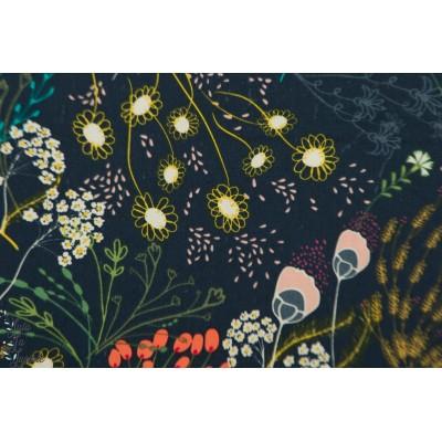 Popeline AGF Meadow Dim - Indie Folk -hippie -bohème - fleur - nature - végétal