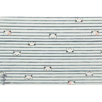 Popeline Dear Stella 845 Cream  - Chats entre les lignes rayure marin animaux cat plaid patch mavada