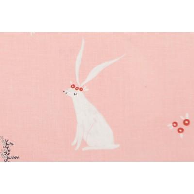 Popeline lapins rose SRR749 PINK Dear Stella SRR749 - aniamux couture fille plaid patch