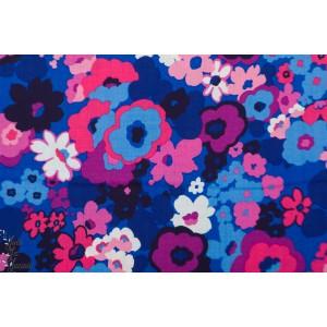 Popeline Laurel Canyon Jewel nature fleur robert kaufma, bleu rose jardin