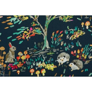 Popeline Enchanted forest Blue Windham enchantée forêt lapin hérisson nature plaid patch