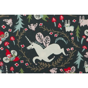 Popeline bio ENCHANTED UNICORNS in dusk - Folkland - Birch fabric