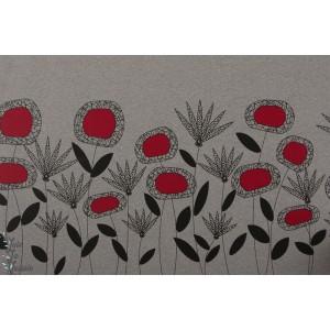 Panneau Jersey Bio Feldblumen Lille fleur rétro rouge vintage lillestoff