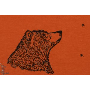 jersey bio Curious bear Rust Bloome organqiue graphique ours rouille enfant animaux