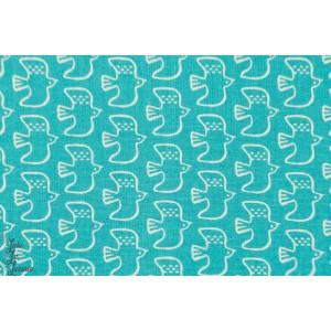 Oiseaux en vol sur fond bleu clair, Tissu de Kokka, série *Shapely Birds*