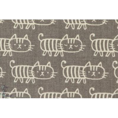 Chats sur fond gris, Tissu de Kokka, série *Shapely cats*