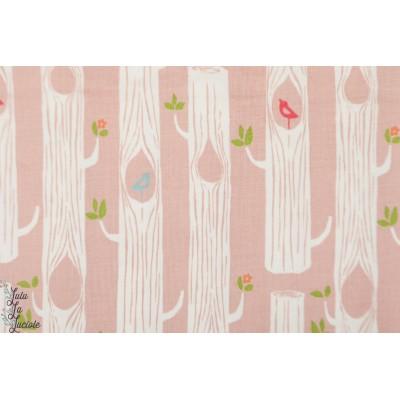 Double Gaze Bio Birch Forêt rose arbre oiseau animaux