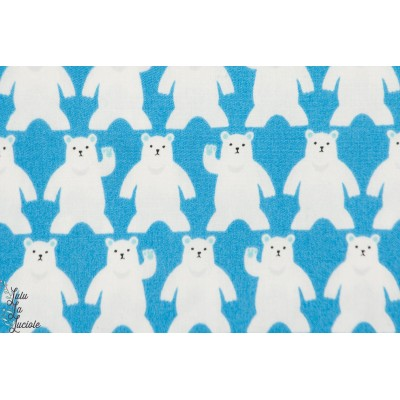 coton japonais ,Ours polaire Blanc sur Bleu, sevenberry