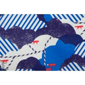 Coton satiné huedrawer Echino Bleu graphique renard