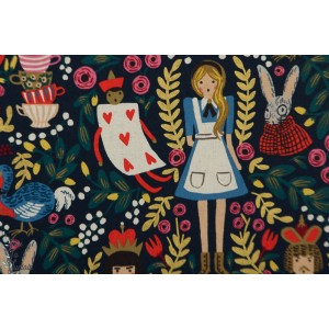 canvas Wonderland Navy Metallic Cotton and Steel - Alice au pays des Merveilles
