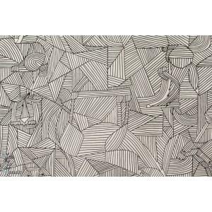 Tissu japonais Petit animaux cachés dans les lignes by Kokka.