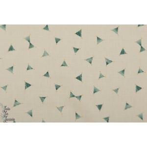 Coton Lin Jolis petits triangles vert Kokka sur écru