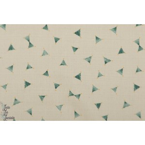 Coton Lin Jolis petits triangles vert fluide graphique kokka