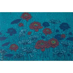 Summerjersey bio lotus Rot lillestoff bio fleur bleu susalabim femme