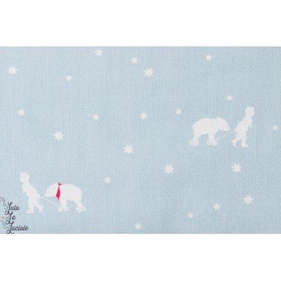 Coton little friends Amis de la nuit en  bleu, de la collection «Little Friends» by Gütermann.