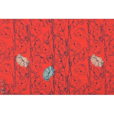 Viscose jersey poppy rouge coquelicot fin été rouge fleur