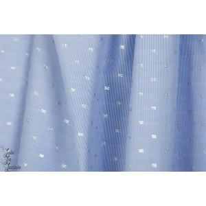 Tissé croix argent denin léger bleu graphique chemise blouse brille