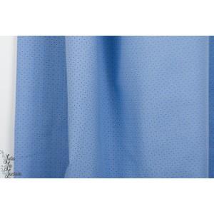 Tissé à pois bleu chemise fin denin bleu graphique robe blouse léger été