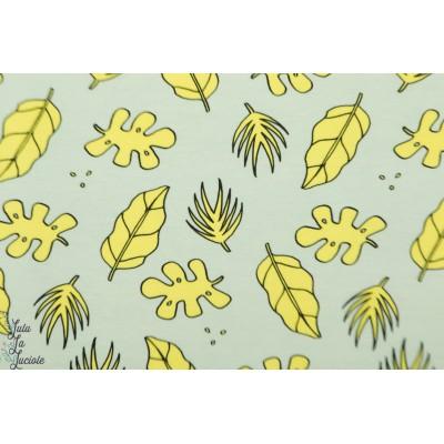 Sweat bio jungle jaune fluo graphique feuille vert jaune enfant