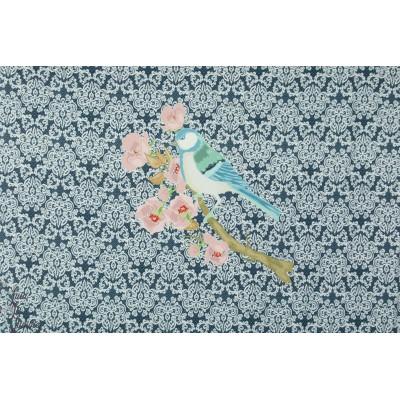 Panneau jersey digital mésange marine oiseau bleu stezno