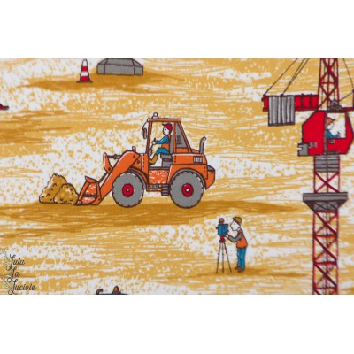 jersey Bio Baustellenfahrzeuge SUSAlabim lillestoff garçon chantier grue tracteur enfant