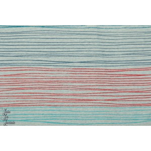 jersey Bio  Buntstiftstreifen turquoise - rouge  - Susalabim - Lillestoff